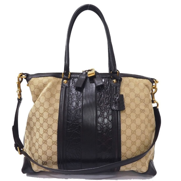 0511b05de Gucci Handbags - 100% Auth Gucci GG Canvas Leather Crocodile Bag